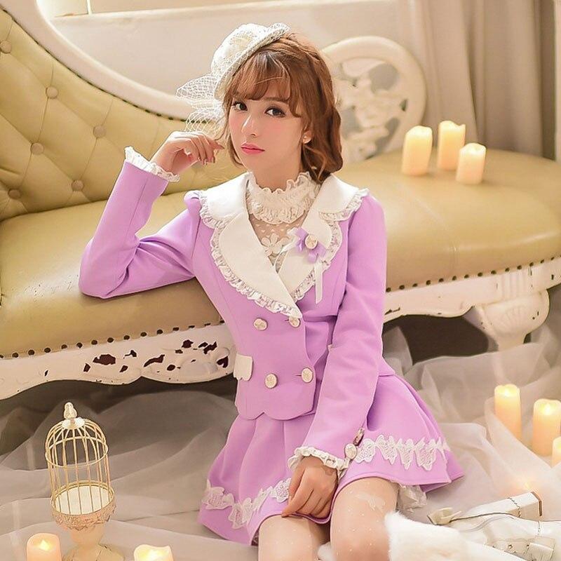 Princess sweet lolita coat Candy rain Autumn winter lace bow violet purple coat College style Short
