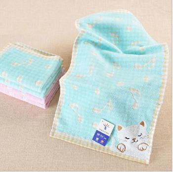 50pcs/lot! Cotton Cat Towel Home Furnishing Towel Gift Face Towels Cotton cat Musical notes Washcloth jacquard towel