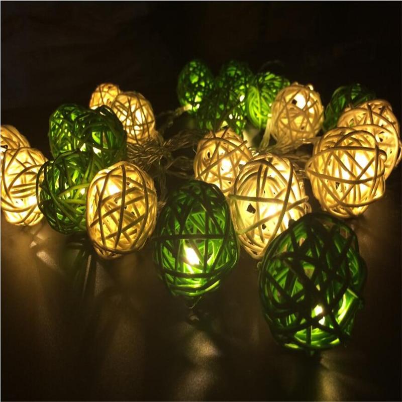 3M 20 LED Warm White 4cm Rattan Ball LED String Lighting Holiday - Festlig belysning - Foto 4