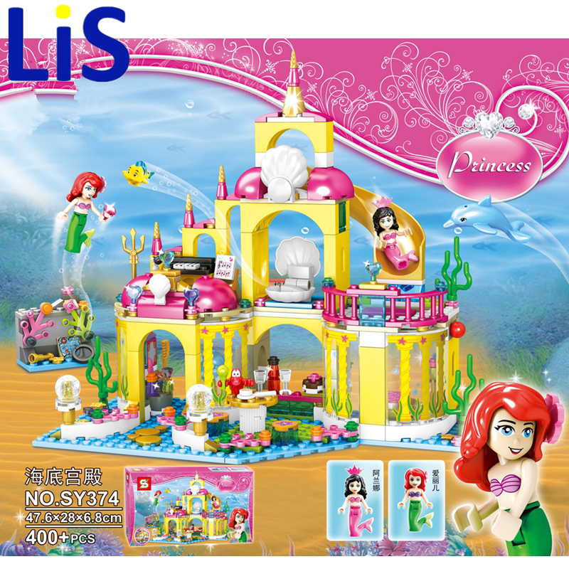 Lis 2016 New SY374 400Pcs Princess Undersea Palace Model Building Kits Blocks Bricks Girl Toy Kids toys Christmas gifts new undersea palace building blocks set 400pcs bricks toys for girls compatible with lego princess toys block girls toy gift