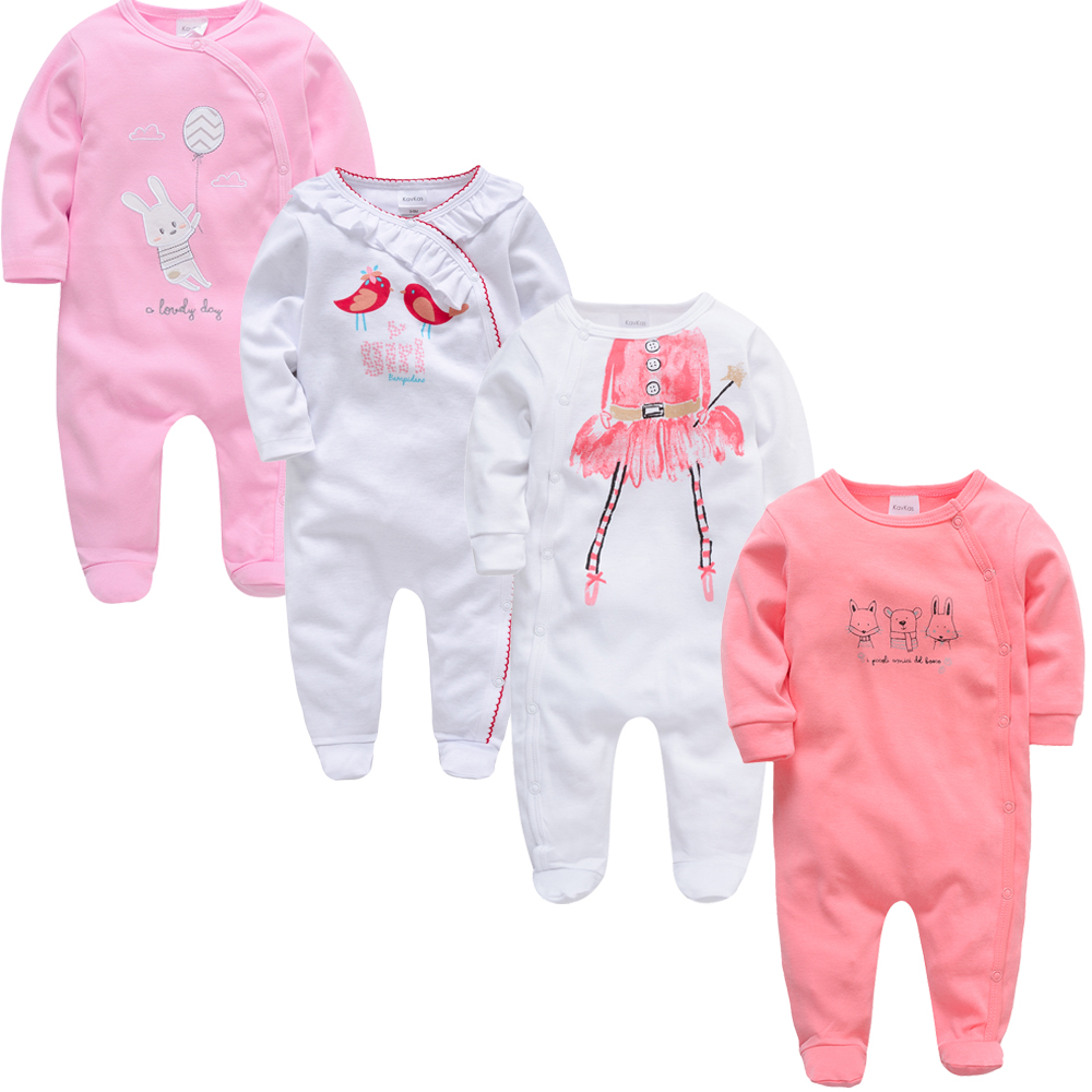 4 Piece/lot 2020 Summer Newborn Baby Clothing Clothes Roupas Bebes Long Sleeve Cotton Footies 0-12 Months Infant Vetement Bebes