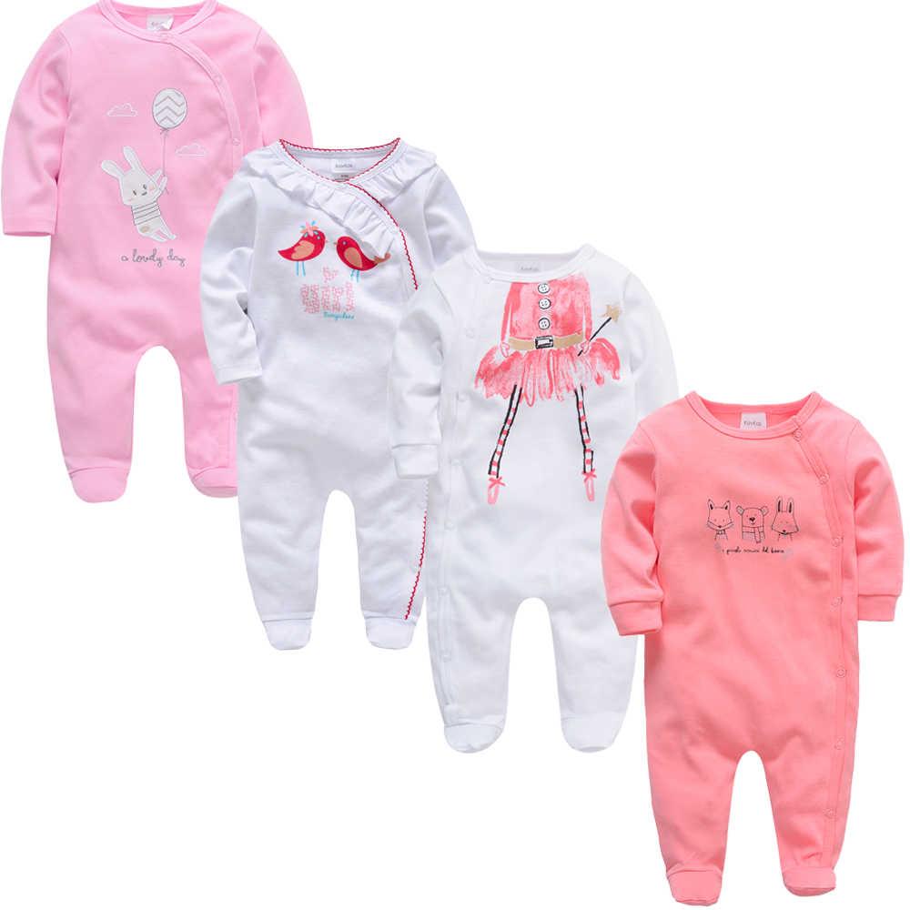 baratas para descuento 386ed 981e9 4 unid/lote 2019 verano ropa de bebé recién nacido Ropa ropa bebes de  algodón de manga larga Footies de 0-12 meses bebé vetement bebes
