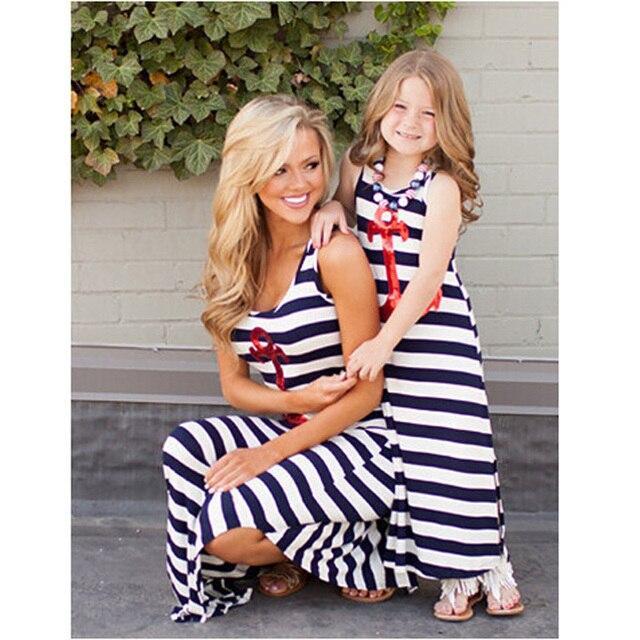 Мода девушки ну вечеринку платье дети enfants vetements fille полосы платье девушки лето мама и платья