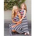 Moda partido de las muchachas enfants vetements fille rayas vestido de niña de verano mamá y de la muchacha vestidos