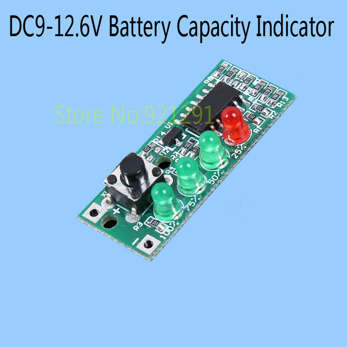 5pcs/lot! 9-12.6V Battery Capacity Indicator 4 LEDs Display Board for 3S Lithium Battery