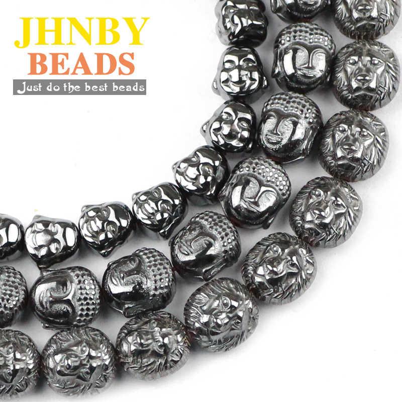 JHNBY Sư Tử Phật Di Lặc đầu Đen Hematite hạt Tự Nhiên Đá Loose hạt Trang Sức bracelet Làm DIY Phát Hiện Phụ Kiện
