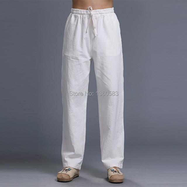 Новый Высокое качество мужчины брюки классический белый кунг-фу спортивные брюки боевые искусства тайцзи штаны отдыха тренировка льняные брюки