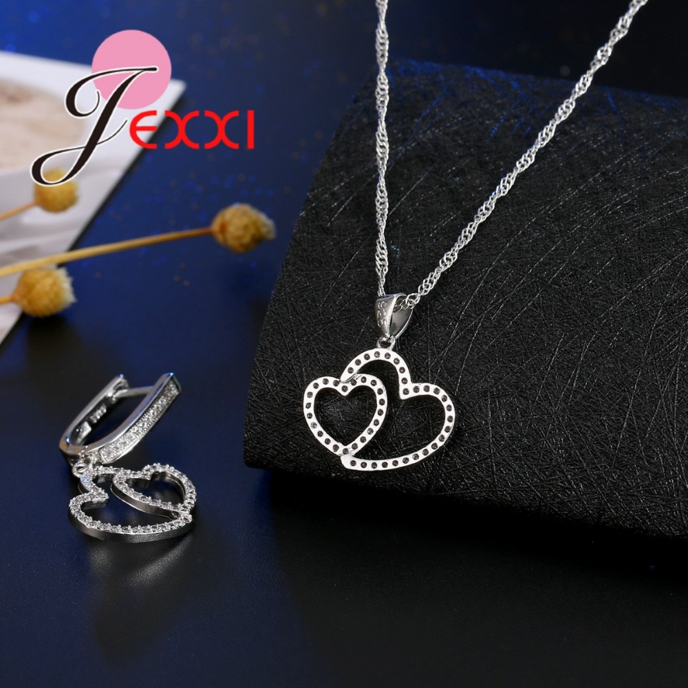 JEXXI Two Heart Connect Romantic Jewelry Gift for Women Best Wedding Bridal Jewelry Set Sparkly Necklace Earring Crystal Set Hol