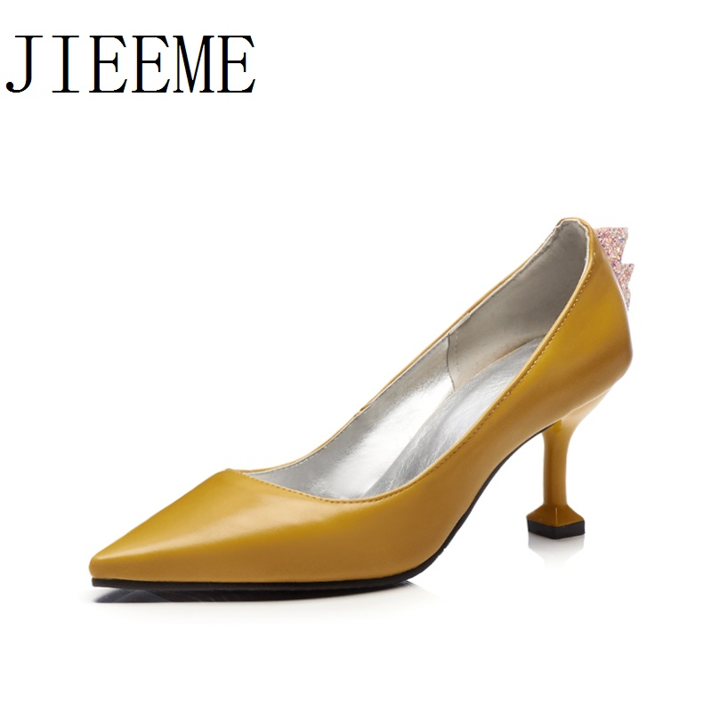 2018 New Arrival High quality Fashion PU Black Pink Pointed toe Women pump Thin Heels Causal Shoes woman