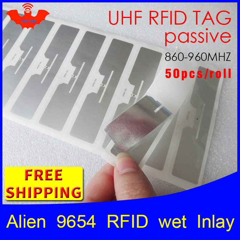 RFID Tag UHF Sticker Alien 9654 Wet Inlay 915mhz868mhz 860-960MHZ Higgs3 EPC 6C 50pcs Free Shipping Adhesive Passive RFID Label