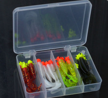 17 Pcs Fishing Tackle Steel Fishing Hook Lures Spoon Simulation Tackle Small Jig Head Soft silicone Fish Bait Set Box Wholesale