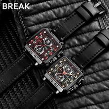 BREAK Men Luxury Fashion Casual Square Dial Wrist Watch Quar