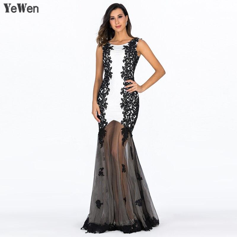 2019 noir blanc Tulle robe de soirée formelle sans manches dentelle Floral robes de soirée Long col rond noir robe de bal grande taille