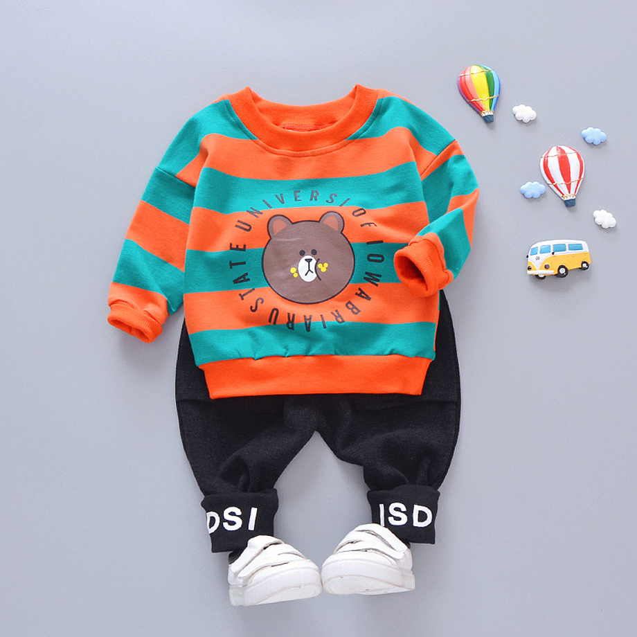Toddler girl clothes 2-piece set cartoon-top&black-pants classical stripe bear print solid color pants baby clothes for a boyToddler girl clothes 2-piece set cartoon-top&black-pants classical stripe bear print solid color pants baby clothes for a boy