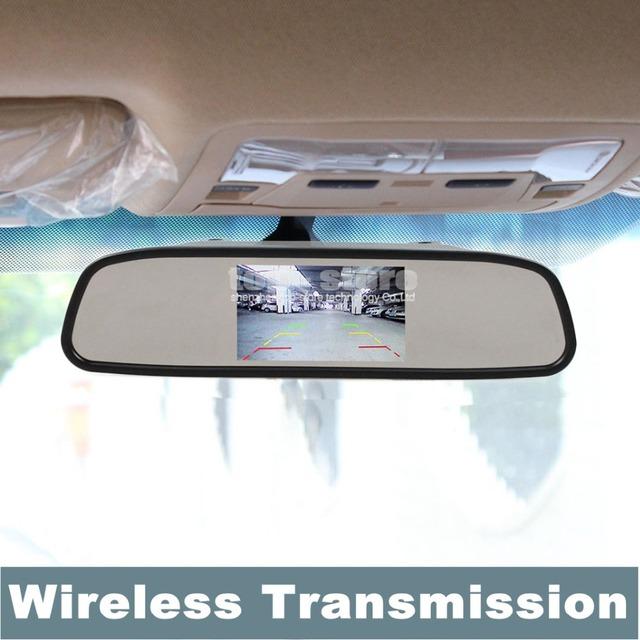 DIYKIT 4.3 Pulgadas Incorporada con Receptor Inalámbrico TFT LCD Espejo Retrovisor Del Coche Monitor + Transmisores + Cargador Libre Del Coche