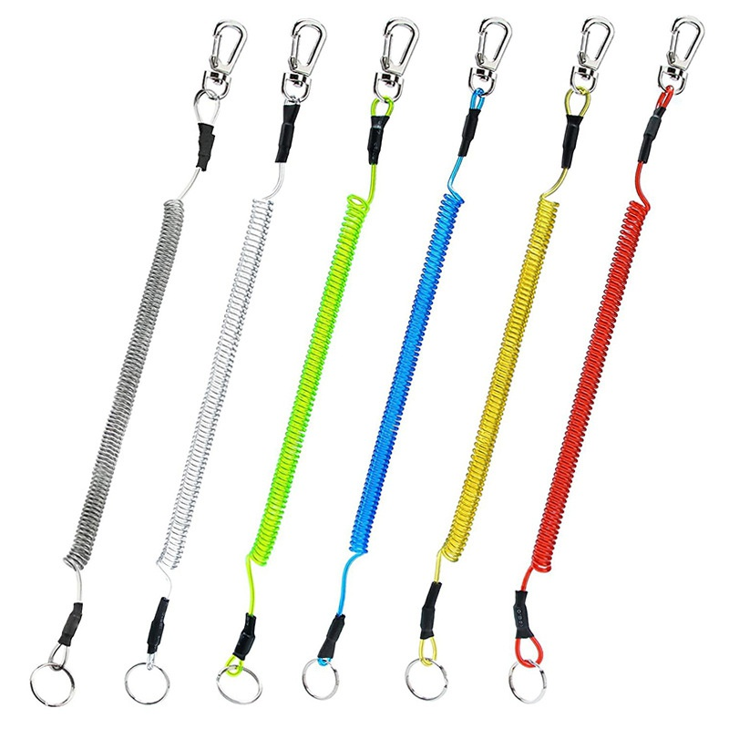 Retractable Fishing Lanyards Boating Ropes Coiled Fish Missed Rope Fishing Pole Rod Protective Steel Rope Line Fishing