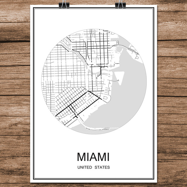 Miami usa abstract world city street map print poster coated paper cafe bar living room home