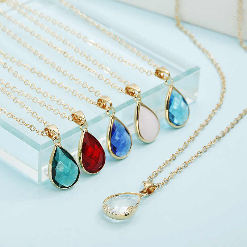 Hot Sale Fashion Birthstone Necklaces Pendants Natural Stone Pink Water Drop Crystal Pendant Necklace For Women Jewelry Gifts