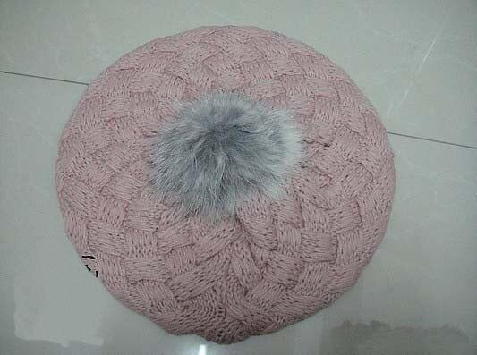 2013 Новые детские вязаные шапки с яблоком модная теплая шапка на осень и зиму Детские разноцветные - Цвет: Розовый