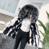 New fur coat raccoon fur coat raccoon fur big hair collar to overcome suede inner guinea overcoming