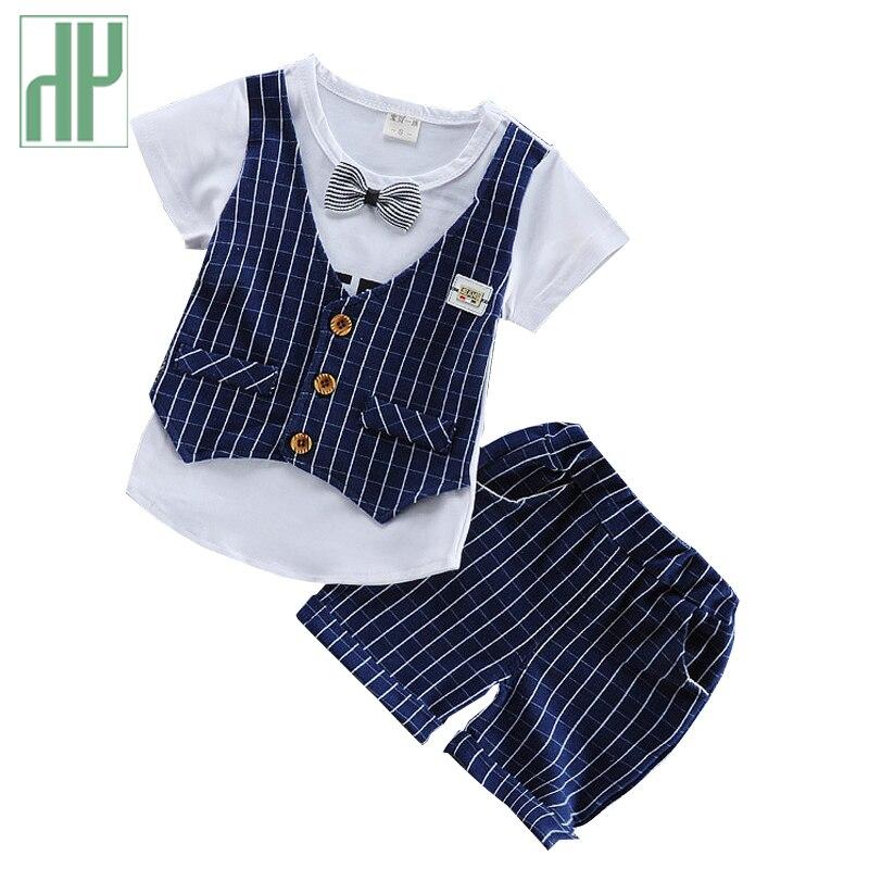 Été vêtements pour enfants beau vêtements formelle enfants casual T-shirt + pantalon 2 Pcs/ensemble garçons de mode d'été ensembles bébé costumes de mariage