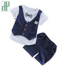 Summer children clothing handsome formal kids casual T-shirt+pant 2Pcs/set boys fashion summer sets baby wedding suits