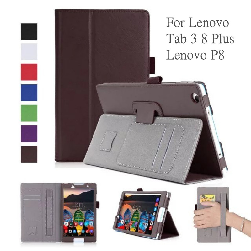 Leather Case for Lenovo Tab3 8 Plus P8 TB-8703 TB-8703F 8 Tablet Stand Cover with Card Slots Hand Holder for Lenovo Tab3 8 Plus цена 2016