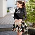 Dabuwawa lace mesh puff sleeves blouse