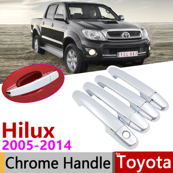 for Toyota Hilux AN10 AN20 AN30 SR5 2005~2014 Chrome Door Handle Cover Car Accessories Stickers Trim Set 2007 2008 2010 2013 image
