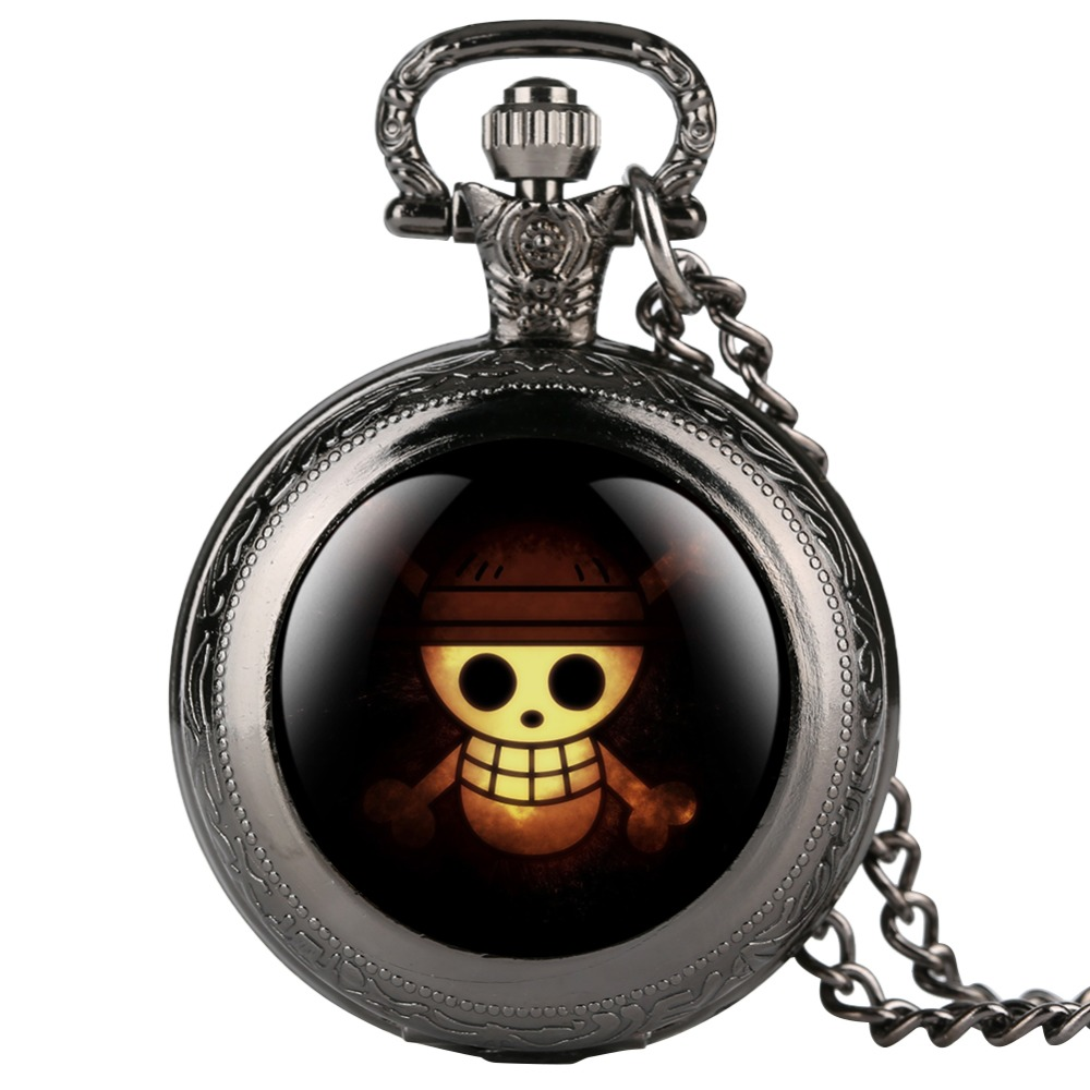 Watches Hearty Cool One Piece Skull Black Quartz Pocket Watch Kids Vintage Fob Women Watches Necklace Pendant Clock Gifts For Children Boys
