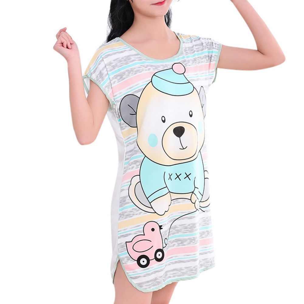 81853d7ba7 ... Womens Summer Short Sleeve Sleep Dress Lovely Cartoon Pattern Printed  Sleepshirt Plus Size Oversized Nightdress Young