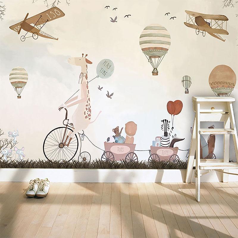 Custom 3D Photo Wallpaper Cartoon Hand Painted Hot Air Balloon Mural Children Room Sofa Background Wallpaper Papel De Parede