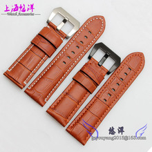 Watch band 24mm New Mens Black Light Brown Stitching Genuine Leather Watch Strap Band Bracelets