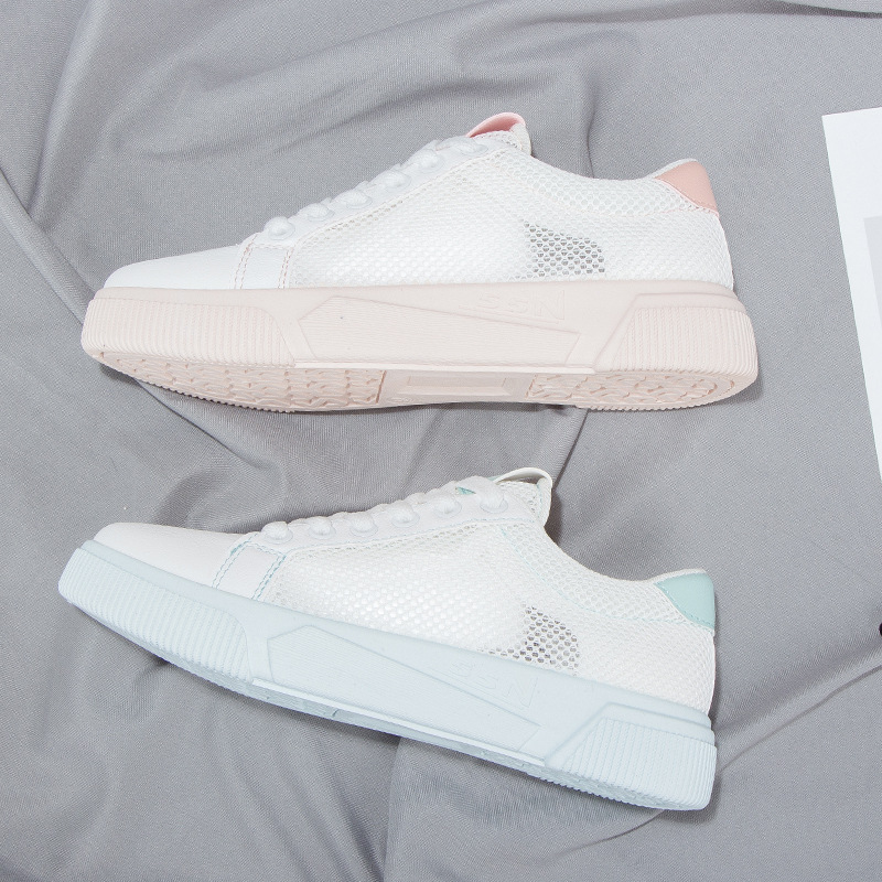 New 2019 Women Sports Shoes Spring Autumn Mesh Cloth Breathable Sneakers Women Wild Flat Bottom White Skateboard Shoes Y2-93
