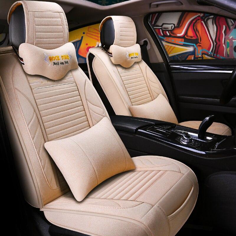 Housses de siège auto universelles en fiber de lin pour nissan qashqai j10 ford focus 3 lada vesta peugeot 508 volvo s60