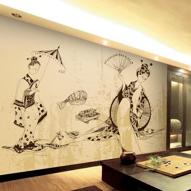 где купить Custom 3d mural Japanese and Korean cuisine restaurant ladies European large mural sushi restaurant entrance wallpaper mural по лучшей цене
