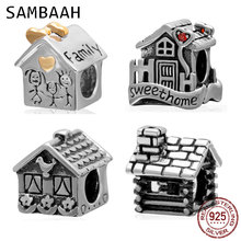 Sambaah Home Sweet Charm 925 Sterling Silver Family House Beads for Original Pandora Style Gifts Bracelet
