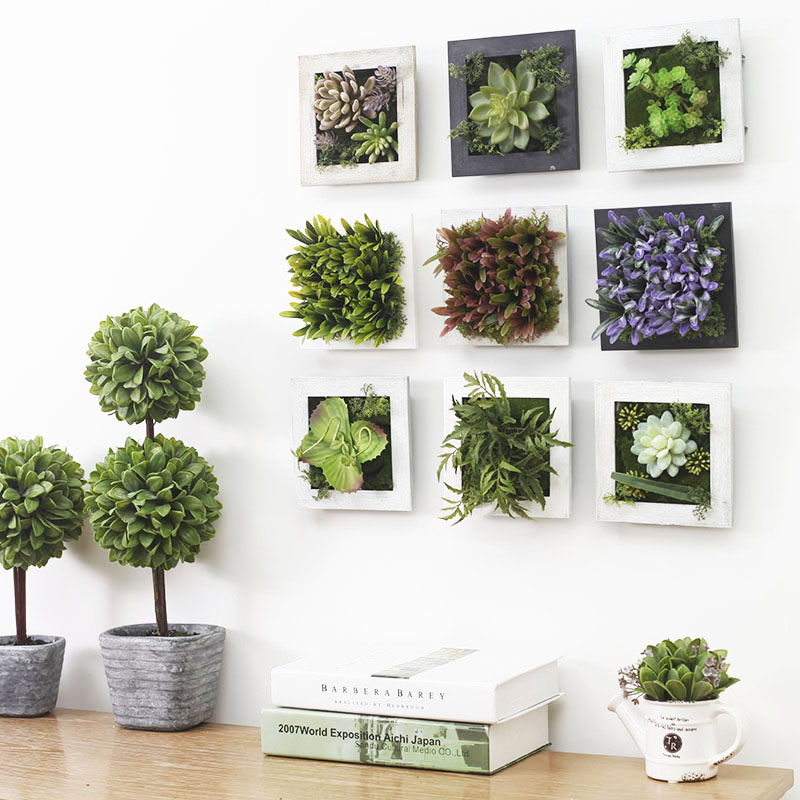 Amenmo Home Decoration Modern Artificial Plants Wall Mural Simulation Succulents Garden Wedding Gift In Dried Flowers