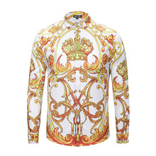 Seestern marca hombres camisas impresión corona patrón de Paisley moda  party club tops camisas de manga larga oro discoteca homb. 99ab14dff207
