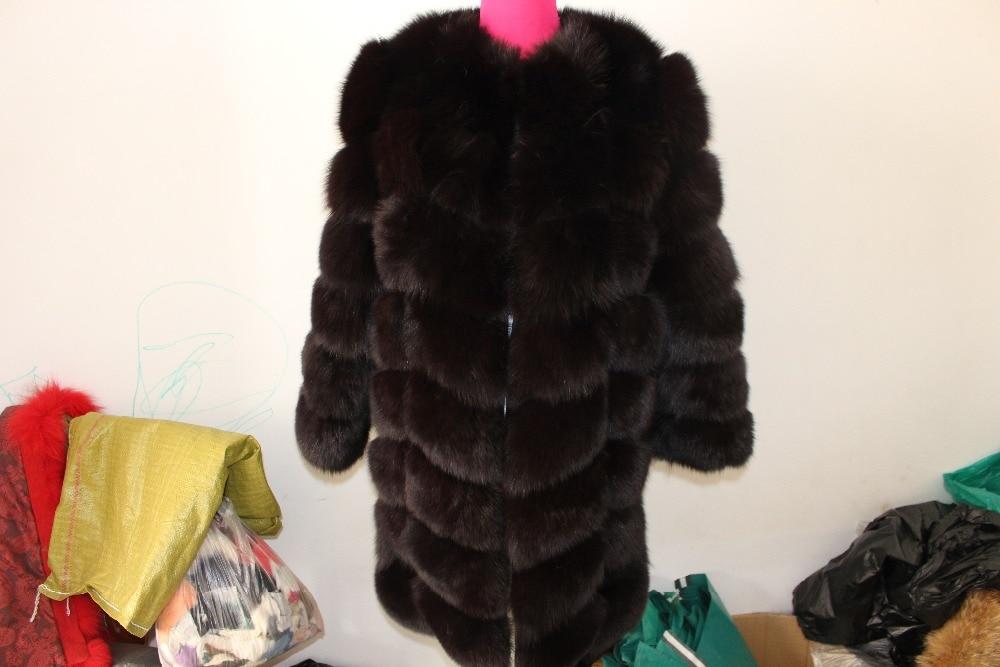 Linhaoshengyue 90CM langen echten Fuchs Pelzmantel mit 50cm Ärmeln - Damenbekleidung - Foto 3