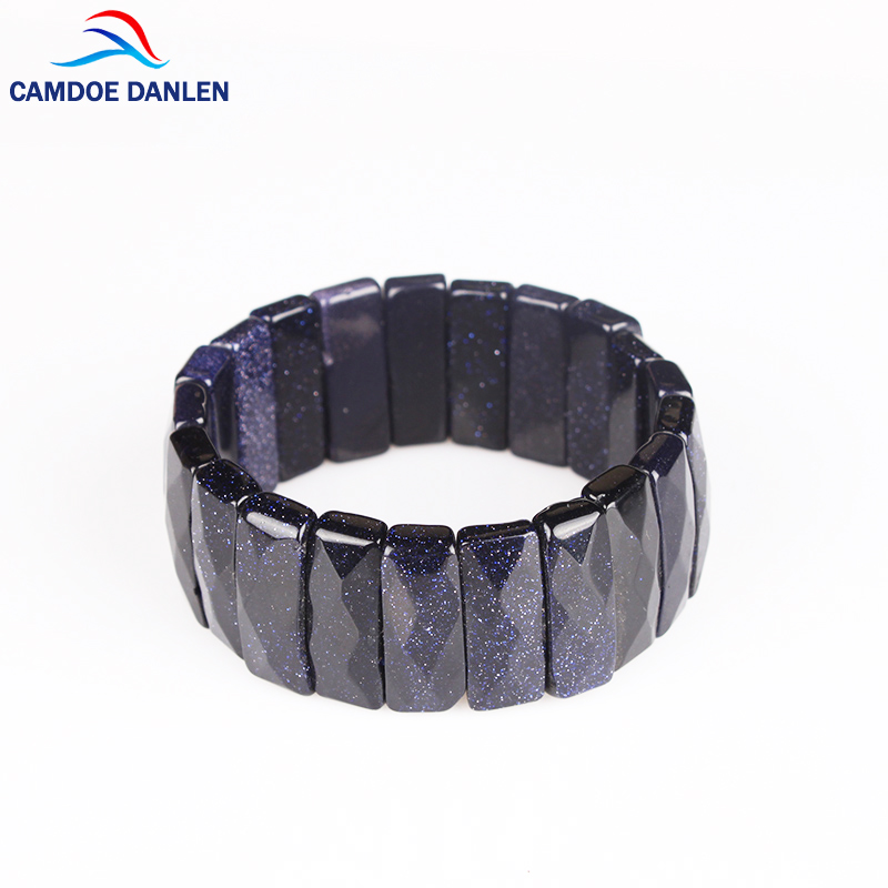 Real Blue sand Natural Stone Bian Bracelet bangles For Men&Women Blue Stone Bracelet Men women Jewelry Gift High Quality