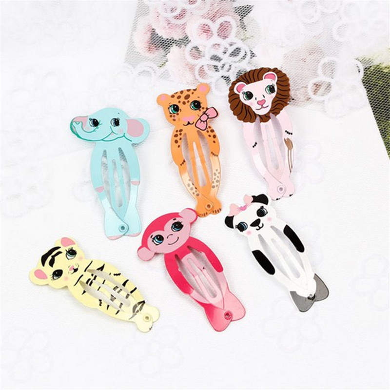 Promotion Surprise 6Pcs/lot Kawaii Animals Hair Clips Alloy Girl Hairpin Summer Hair Accessories Fashion Character Hairclip 7 pairs lot promotion hairpin hairclip headwear girl hair accessories kids hair clip girl christmas gift