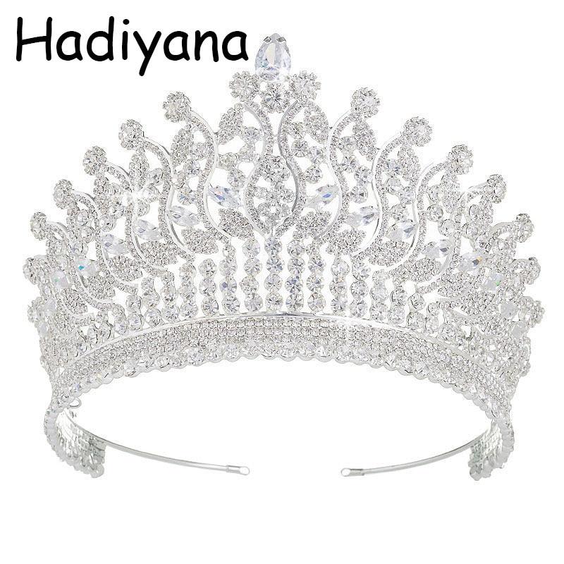 Tiaras And Crowns HADIYANA Wedding Fashion Headdress Bridal Hair Accessories For Women Elegant HG6027 Haar Sieraden