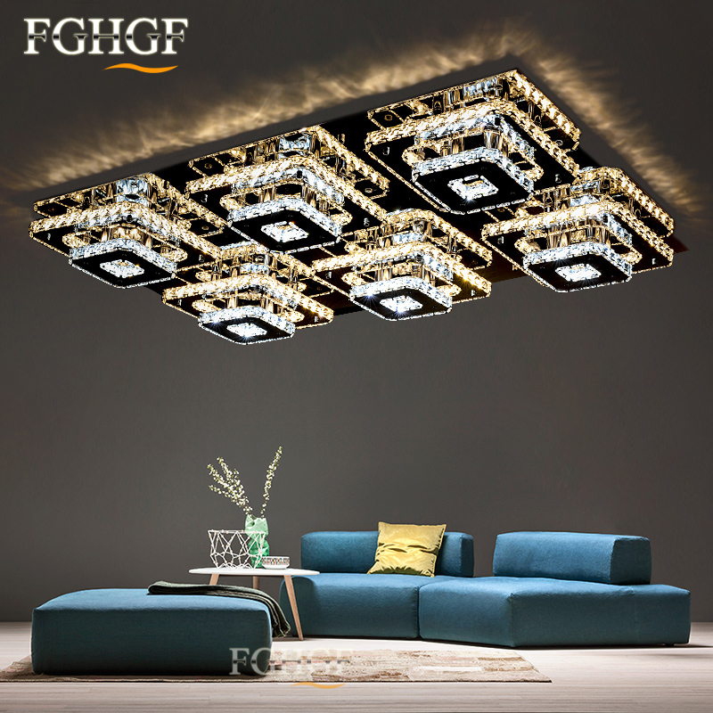 3f5b0c3ffdf1 Modern LED Crystal Chandelier Light Square Rectangle Flush Mounted  Chandeliers Lamp Living Room Lustres for Bedroom Dining room