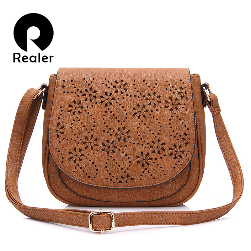 REALER women messenger bags small vintage shoulder bag floral hollow out handbag female high quality pu leather crossbody bags auau new bags women skull head shoulder crossbody small personalized messenger bag handbag hight quality vintage cute style 2017