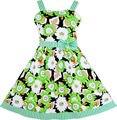 Sunny fashion girls vestido sin mangas del patrón de flor pajarita a rayas de corte de algodón 2017 de la princesa del verano del banquete de boda de tamaño 4-12