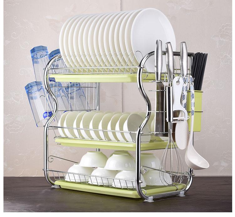 2-3 Tiers Dish Drying Rack Kitchen Washing Holder Basket Plated Iron Kitchen Knife Sink Dish Drainer Drying Rack Organizer B484