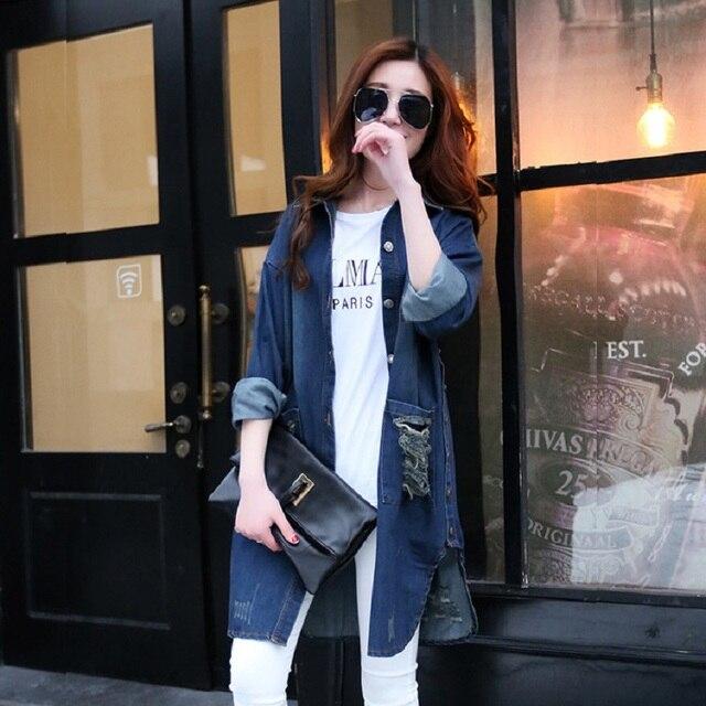 Spring and autumn maternity jacket denim shirts cotton loose hole jacket pregnant jackets coat plus size women's denim shirts
