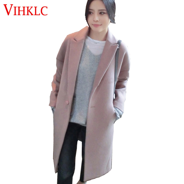 2018 New Elegant Lady Cardigan Overcoat European Style Fashion Wool Jacket  Coat Female Suit Woolen Coat Feminino H918 0bb3de603
