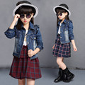 Girls Clothing Sets Ruffled Jeans Jackets Plaid Dress Kids Tracksuit Fashion Children's Costume Clothes for Girls TZ13